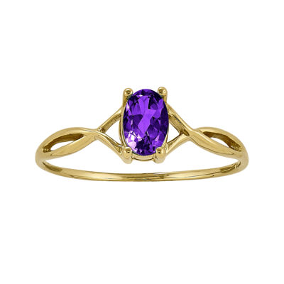 Genuine Purple Amethyst 14K Yellow Gold Ring