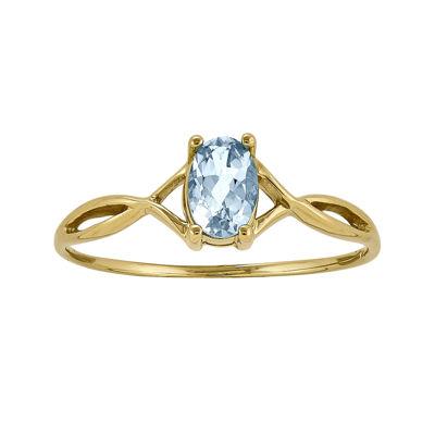 Genuine Aquamarine 14K Yellow Gold Ring
