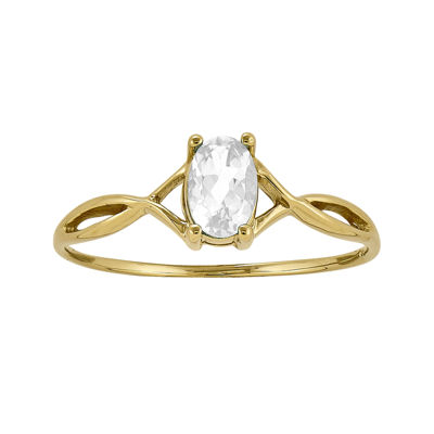 Genuine White Topaz 14K Yellow Gold Ring