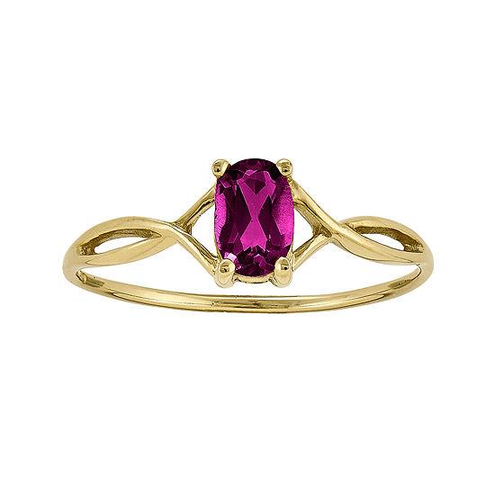 Genuine Red Rhodolite 14K Yellow Gold Ring