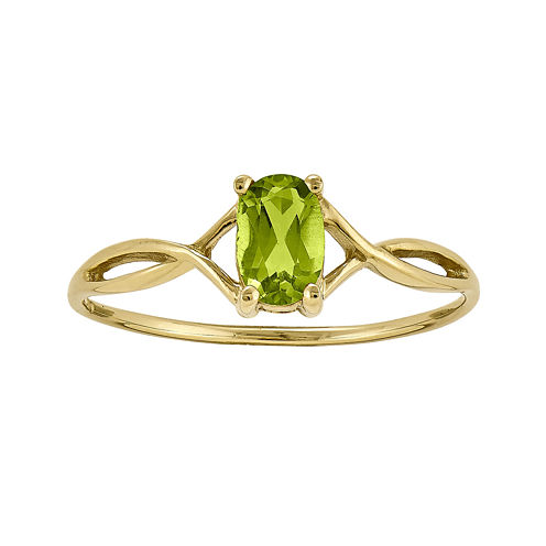 Genuine Green Peridot 14K Yellow Gold Ring