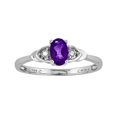 Genuine Purple Amethyst Diamond-Accent 14K White Gold Ring