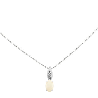 Lab-Created Opal Diamond-Accent 14K White Gold Pendant Necklace