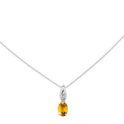 Genuine Yellow Citrine Diamond-Accent 14K White Gold Pendant Necklace