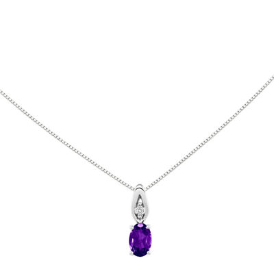Genuine Purple Amethyst Diamond-Accent 14K White Gold Pendant Necklace