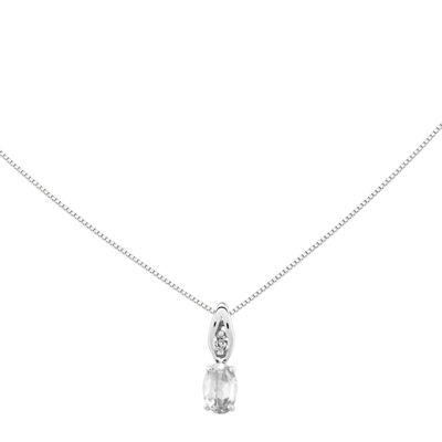 Genuine White Topaz Diamond-Accent 14K White Gold Pendant Necklace