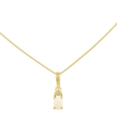 Lab-Created Opal Diamond-Accent 14K Yellow Gold Pendant Necklace