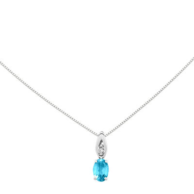 Genuine Swiss Blue Topaz Diamond-Accent 14K White Gold Pendant Necklace