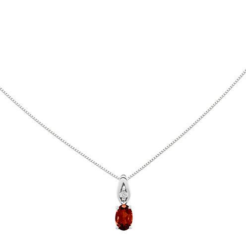 Genuine Red Garnet Diamond-Accent 14K White Gold Pendant Necklace