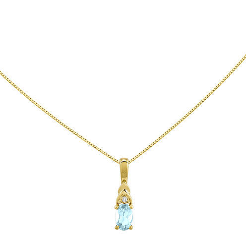 Genuine Aquamarine Diamond-Accent 14K Yellow Gold Pendant Necklace
