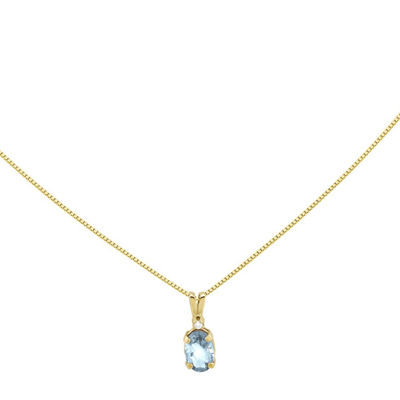 Genuine Aquamarine Diamond-Accent 14K Yellow Gold Pendant Necklace