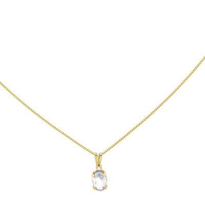 Genuine White Topaz Diamond-Accent 14K Yellow Gold Pendant Necklace