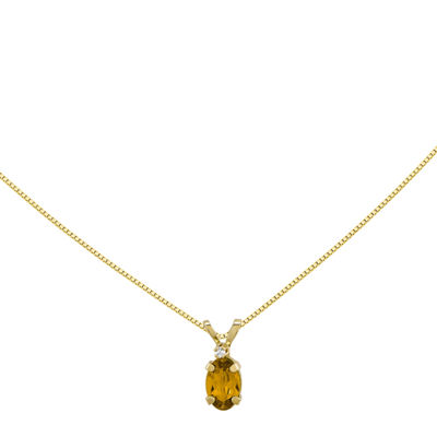Genuine Yellow Citrine Diamond-Accent 14K Yellow Gold Birthstone Pendant Necklace