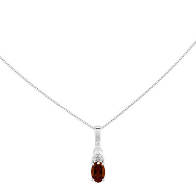 Genuine Red Garnet Diamond-Accent 14K White Gold Pendant Necklace