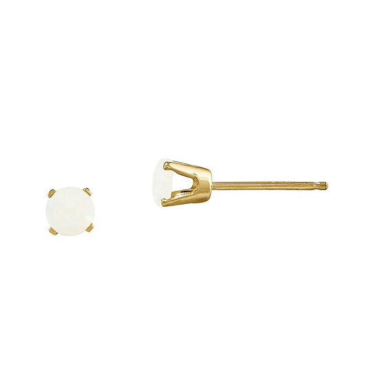 Lab-Created Opal 14K Yellow Gold Stud Earrings