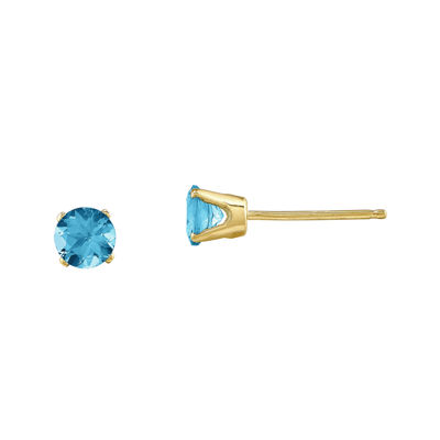 Blue Topaz 14K Yellow Gold  Post Earrings