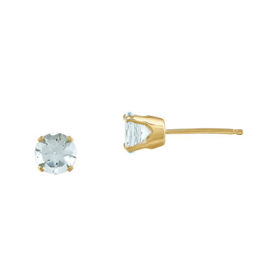 5mm Genuine Aquamarine 14K Yellow Gold Stud Earrings