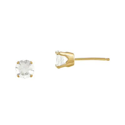5mm Genuine White Topaz 14K Yellow Gold White Stud Earrings