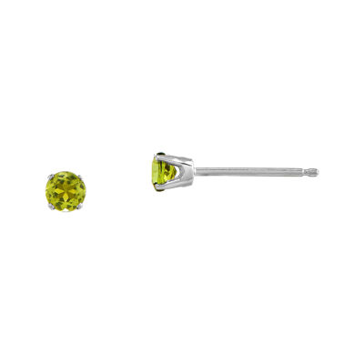 3mm Round Genuine Peridot 14K White Gold Stud Earrings