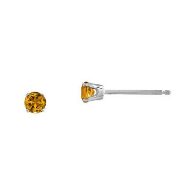 3mm Round Genuine Citrine 14K White Gold Stud Earrings