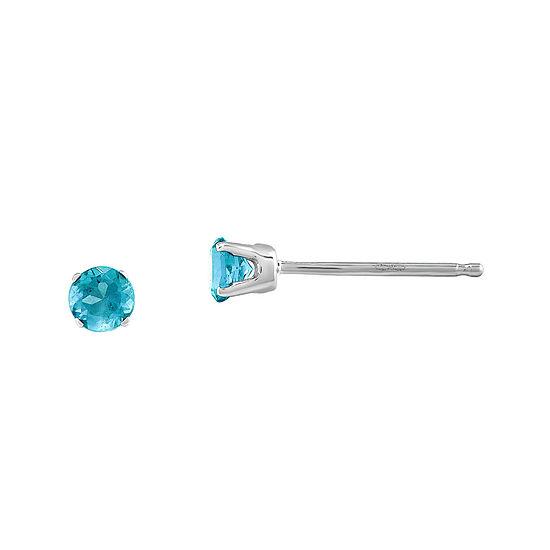 3mm Round Genuine Swiss Blue Topaz 14k White Gold Stud Earrings