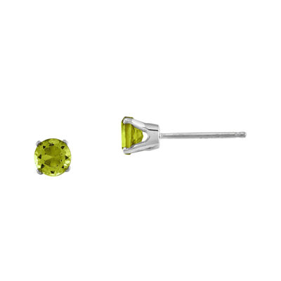 Genuine Peridot 14K White Gold Stud Earrings