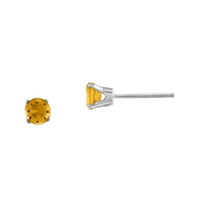 Genuine Citrine 14K White Gold Stud Earrings