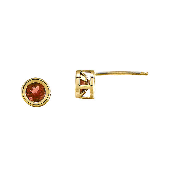 Round Genuine Garnet 14K Yellow Gold Bezel Stud Earrings