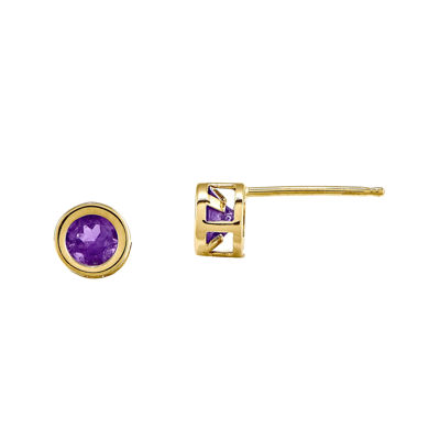 Round Genuine Amethyst 14K Yellow Gold Bezel Stud Earrings
