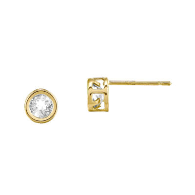 Genuine White Topaz 14K Yellow Gold Stud Earrings