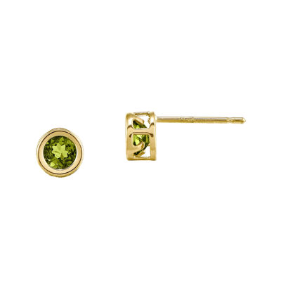 Genuine Green Peridot 14K Yellow Gold Stud Earrings