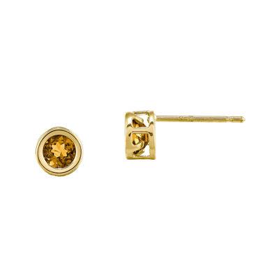 Genuine Yellow Citrine 14K Yellow Gold Stud Earrings