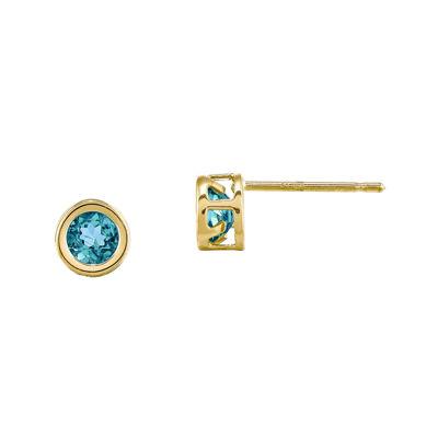 Genuine Swiss Blue Topaz 14K Yellow Gold Stud Earrings