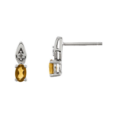 Genuine Yellow Citrine Diamond-Accent 14K White Gold Earrings