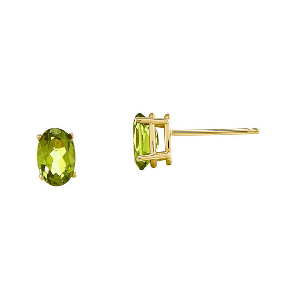Genuine Green Peridot 14K Yellow Gold Peridot Stud Earrings