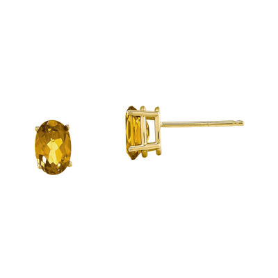 Genuine Yellow Citrine 14K Yellow Gold Stud Earrings