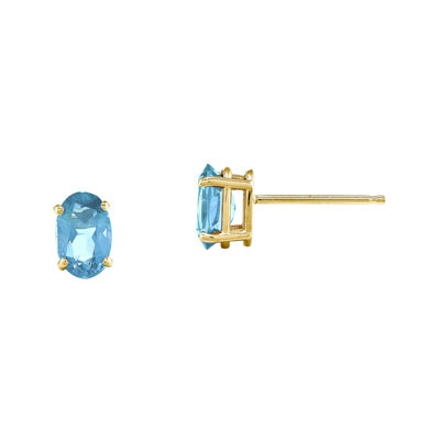 Genuine Swiss Blue Topaz 14K Yellow Gold Blue Stud Earrings