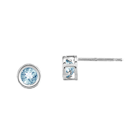 Genuine Aquamarine 14K White Gold Stud Earrings