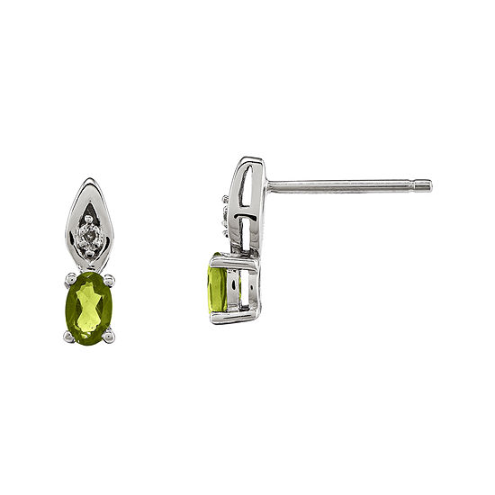 Genuine Green Peridot Diamond Accent 14k White Gold Earrings