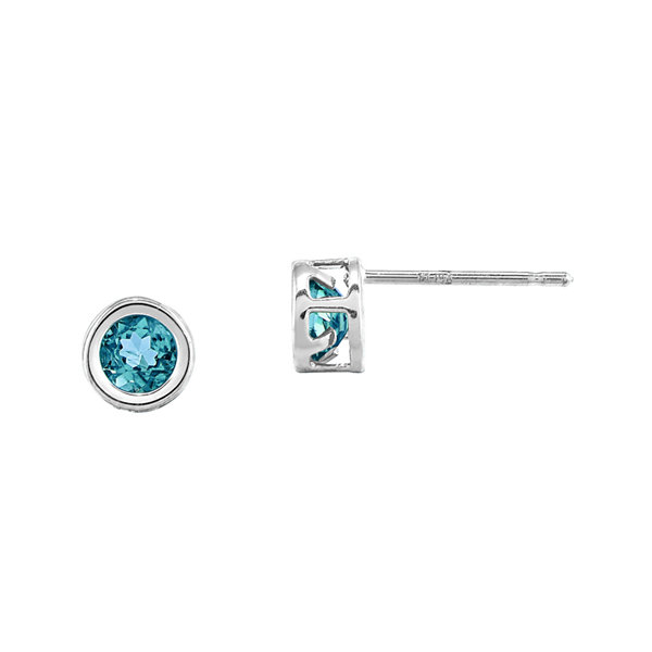 Genuine Swiss Blue Topaz 14K White Gold Stud Earrings