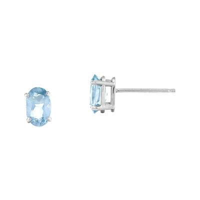 Genuine Aquamarine 14K White Gold Stud Earrings