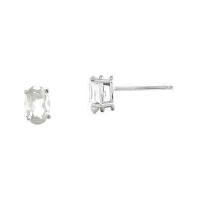 Genuine White Topaz 14K White Gold Stud Earrings