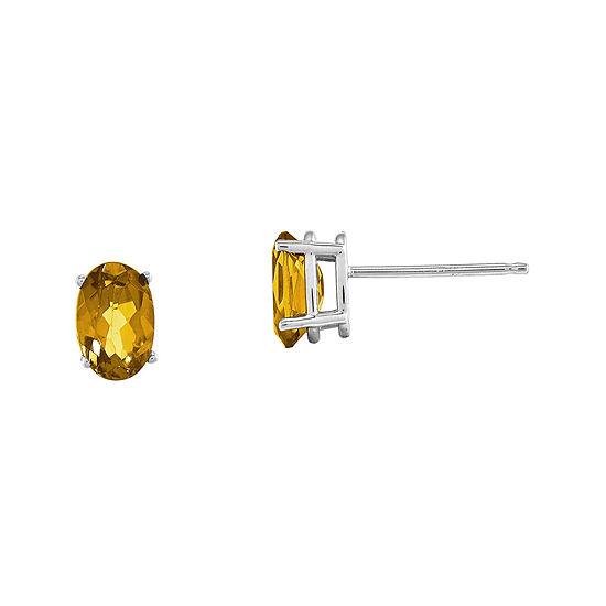 Genuine Yellow Citrine 14K White Gold Stud Earrings