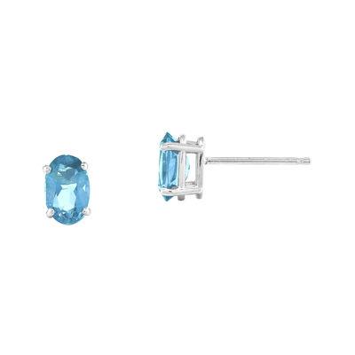 Genuine Swiss Blue Topaz 14K White Gold Stud Earrings