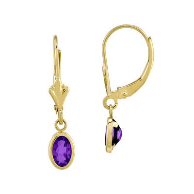 Genuine Purple Amethyst 14K Yellow Gold Drop Earrings