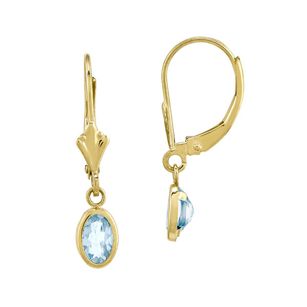 Genuine Aquamarine 14K Yellow Gold Drop Earrings