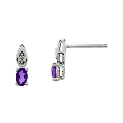 Genuine Purple Amethyst Diamond-Accent 14K White Gold Earrings