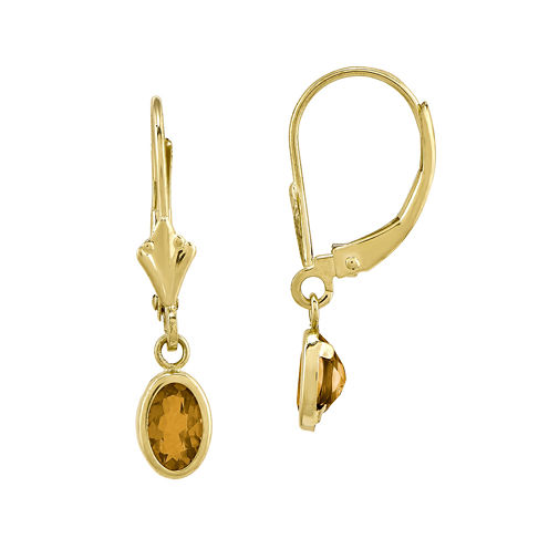 Genuine Yellow Citrine 14K Yellow Gold Drop Earrings
