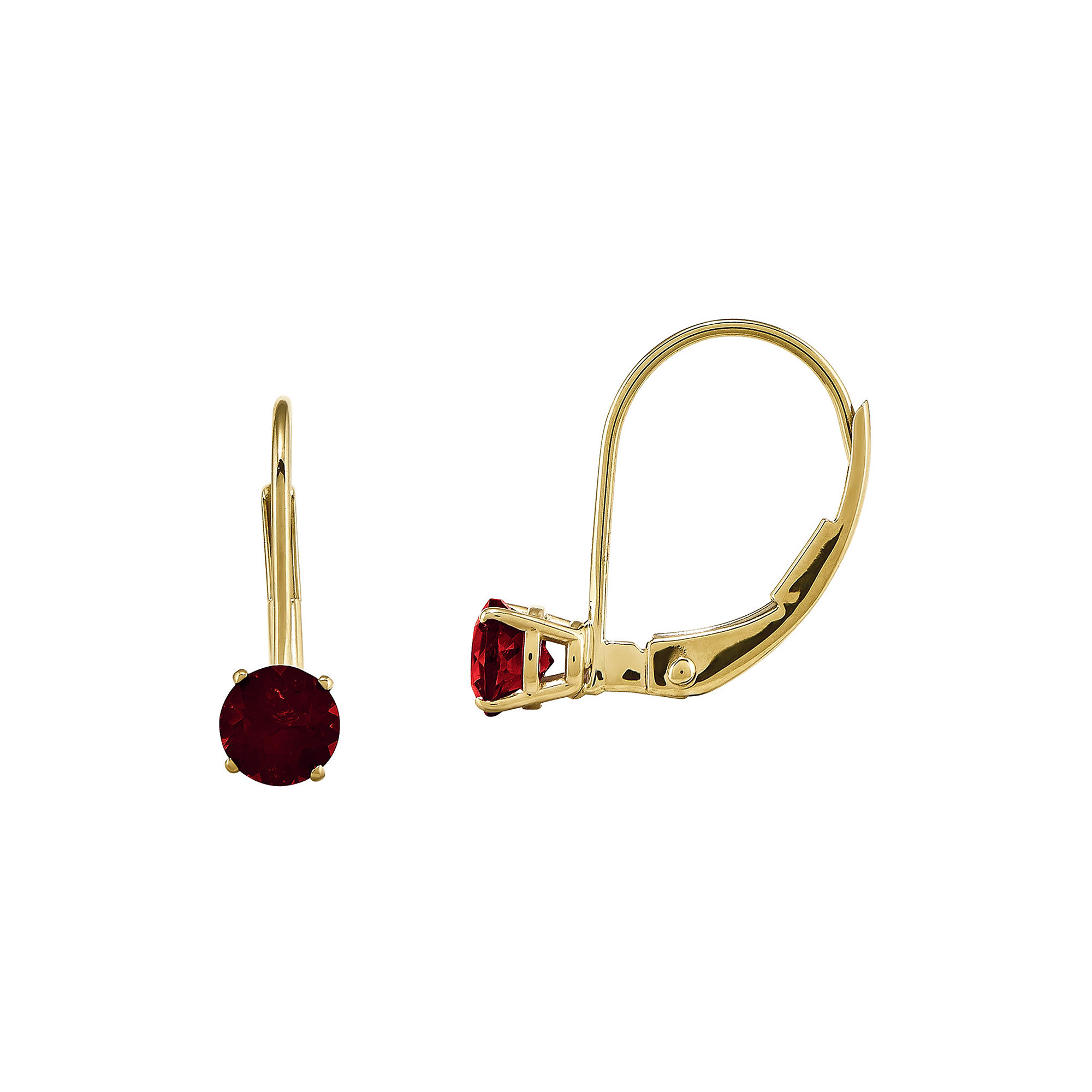 Genuine Red Garnet 14K Yellow Gold Drop Earrings