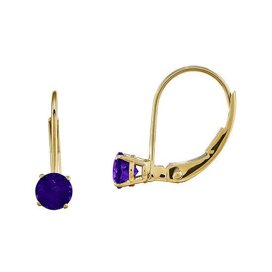 Genuine Purple Amethyst 14K Yellow Gold Drop Earrings